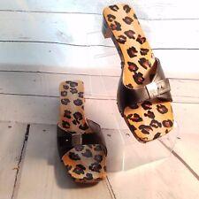 Vintage Dr. Scholl's Black Brown Taylor Design Leather Wood Exercise Sandals 9