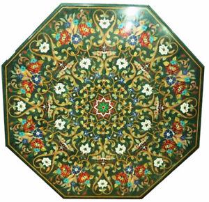 "48"" Inlay Pietra Dura Marble Table Top Handicraft Work Home Decor"