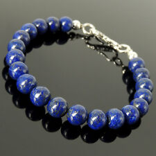 Handmade Clasp Bracelet Healing Lapis Gemstone 925 Sterling Silver 8mm Beads 530