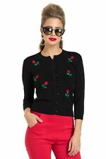 Voodoo Vixen 1950s Style Vintage Retro Rose Applique Cardigan - Size 2XL (UK16)