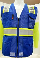 Fx Two Tone High Visibility Reflective Blue Safety Vest With Id Pocketsmall 2xl