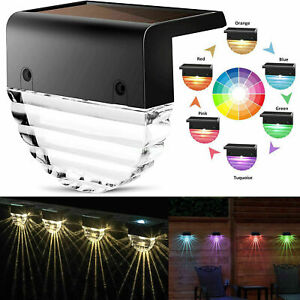 Solar Deck Step Lights Outdoor Waterproof LED Stairs Garden Warm White +Colorful