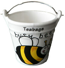 Bee Teabag tidy.Bucket shaped used teabag pot . Busy bee design