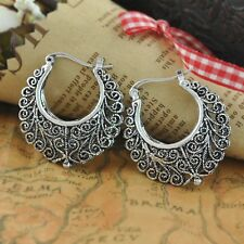 Women Vintage Bohemian Boho Style Ethnic Carved Vine Flower Silver Stud Earrings