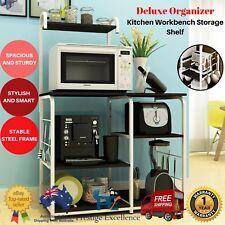 Kitchen Workbench Storage Microwave Oven Shelf Wooden Bench Top Steel Rack Stand