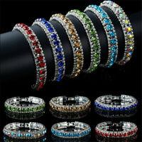 Fashion Women Crystal Rhinestone Tennis Bracelet Bangle Wedding Bridal Wristband
