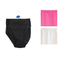 Ladies High Leg Briefs with Lace top edging Black White Pink Sizes 12 14 16 18