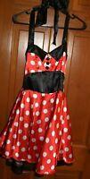 Minnie Mouse Costume M 8-10 Polka Dot cute skirt net slip Halter top Dress EUC