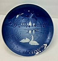 "Bing Grondahl Blue & White 1974 Jule After 7"" Plate Christmas in the Village"
