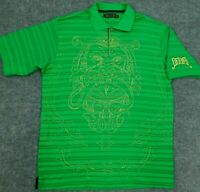 COOGI Golf Polo Shirt Green Striped Gold Thread Lion Logo Spellout S/S Men's XL