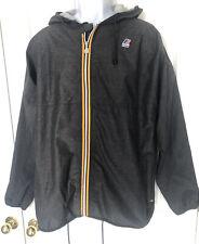 K-WAY Men's Full Zip Gray Hooded Windbreaker Jacket XL