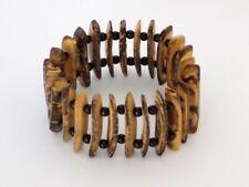 Bracelet manchette perles de coco marron beige perles noires