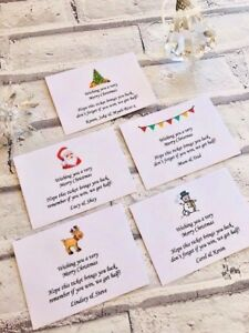 5 Personalised Christmas Lottery Ticket Money Envelope Gift Scratchcards Present