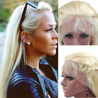 8A Remy Brazilian Human Hair Lace Front Wig Blonde Glueless Natural Straight 613