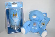 NUOVO Manchester City Mini Bar Set + IL MIO PRIMO orso prodotto ufficiale m.c.f.c