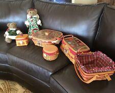 Longaberger Lot of 5 Christmas Baskets & Angels, All Signed