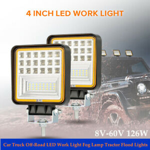 2PCS 8V-60V Auto Car Truck Off-Road LED Work Light Fog Lamp Tractor Flood Light