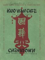 Vintage KUO WAH CAFE Restaurant Menu San Francisco, California 1950