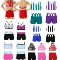 Kid Girl Ballet Dance Sports Outfit Set Gymnastics Workout 2pcs Crop Top+Shorts