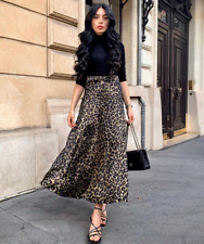Zara Khaki Leopard Animal Print Long Satin Midi Skirt A-line Size XL XXL