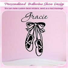Personalized girl's Name ballerina shoes Decor Art Wall Sticker Vinyl Decal S126