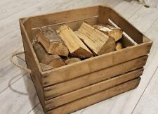 OLD WOODEN APPLE CRATE WITH ROPE HANDLES - HAMPER / CARRIER / STORAGE BOX++