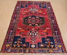 Persian Luri Tribal Hand Knotted Wool Reds Blues Yellow Pink Oriental Rug 4 x 8