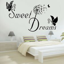 SWEET DREAMS Butterfly LOVE Quote Wall Sticker Bedroom Removable Decal DIY Great