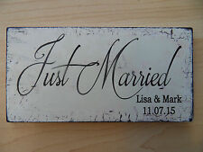 Shabby New Just Married Personalised wedding plaque sign chic and unique