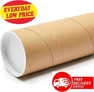 Cardboard Postal Tubes Quality Poster Size A3  330mm x 50mm + End Caps 50 TUBES