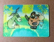 3D Stereo lenticular USSR Pocket  Calendar 1990 Winnie the Pooh Piglet Donkey IA