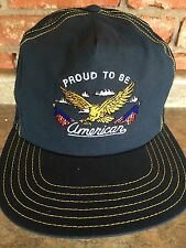 Proud to be an AMERICAN embroidered mesh NAVY BLUE trucker baseball hat cap USA