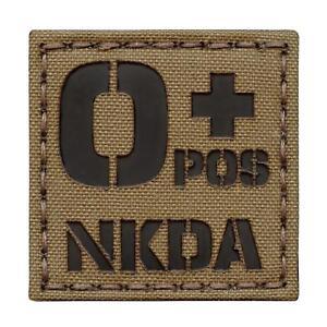 O+ Blood Type NKDA OPOS infrared IR coyote brown tan laser hook&loop patch