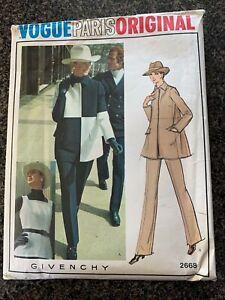 VTG VOGUE 2668 Sewing Pattern Sz12 Jacket Pants & Tunic Paris Original GIVENCHY