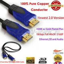 3FT/1M Super Speed Newest HDMI Cable V2.0 4K UHD 2160p Ethernet 3D Audio/Vedio