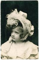 c 1907 Children Child Pretty GIRL IN BONNET European photo postcard