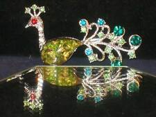 NEW SILVERTONE PEACOCK PIN AMAZING GREEN & BLUE CRYSTALS RED EYE! WOW!! b147