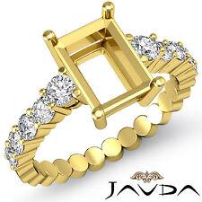 Diamond Engagement Emerald Semi Mount Shared Prong Ring 14k Yellow Gold 0.70Ct