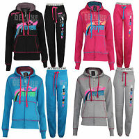 WOMENS LADIES GIRLS HOODED FLEECE JOGGING FULL TRACKSUIT TOP BOTTOM SIZES M L XL