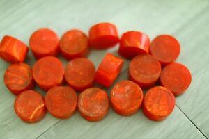Genuine BAKELITE red yellow marble rod end cuts 38mm 530 grams backgammon