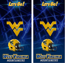 West Virginia Blue WVU Cornhole Board Skin Wrap Decal Set of 2
