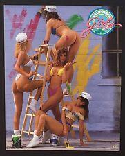 Hot Chicks on Ladder California Girls ~ Vintage Bikini Poster Print 16 x 20 085