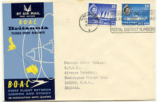 AU$ SINGAPORE 1957 First Flight BOAC Britannia Turbo Airliner SINGAPUR - LONDON