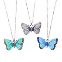 Fashion Women Enamel Butterfly Crystal Silver Pendant Necklace Chain Jewelry