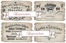 4 french Werbelabel (advertising) auf A 4 Aufkleber wasserfest