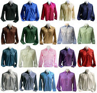 Mens Thai Silk Dress Shirt S M L XL 2XL 3XL Long Sleeve 20 Colors Casual Formal