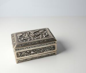 Chinese Export Sterling Silver Repousse Footed Box, Early 20th Century