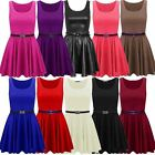 New Ladies Plain Flared Pleated Plus Size Belted Skater Party Dress 16-26