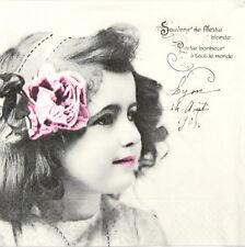 Papel 4x Servilletas-Sagen Vintage Girl arco Rosado-Para Fiesta, Decoupage Craft