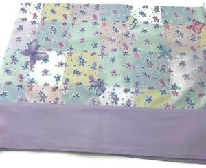 NoJo  Window Valance Floral Butterfly Garden Yellow Lavender Green 2 Panels